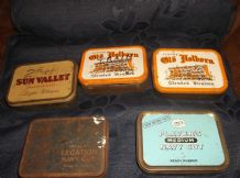 6 X COLLECTABLE OBLONG TINS TOBACCO HOLBORN LEGATION PLAYER NAVY SUN VALLEY